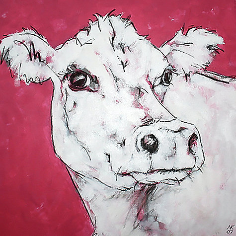 Buy Nicola King - Cow On Red Online at johnlewis.com
