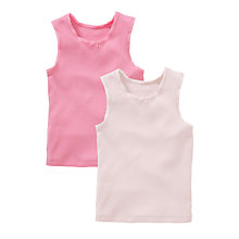 Buy John Lewis Girl Singlet Vests, Pack of 2, Pink Online at johnlewis.com