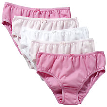 Buy John Lewis Girl Briefs, Pack of 5, Pink Online at johnlewis.com