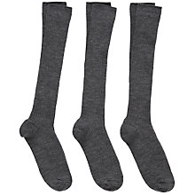 Buy John Lewis Unisex Knee High Socks, Pack of 3, Grey Online at johnlewis.com