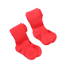 Buy John Lewis Girl Cotton Tights, Pack of 2, Red Online at johnlewis.com