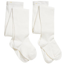 Buy John Lewis Girl Cotton Tights, Pack of 2, White Online at johnlewis.com