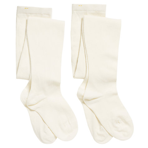 Buy John Lewis Girl Cotton Tights, Pack of 2, Ecru Online at johnlewis.com