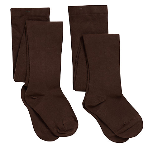 Buy John Lewis Girl Cotton Tights, Pack of 2, Brown Online at johnlewis.com