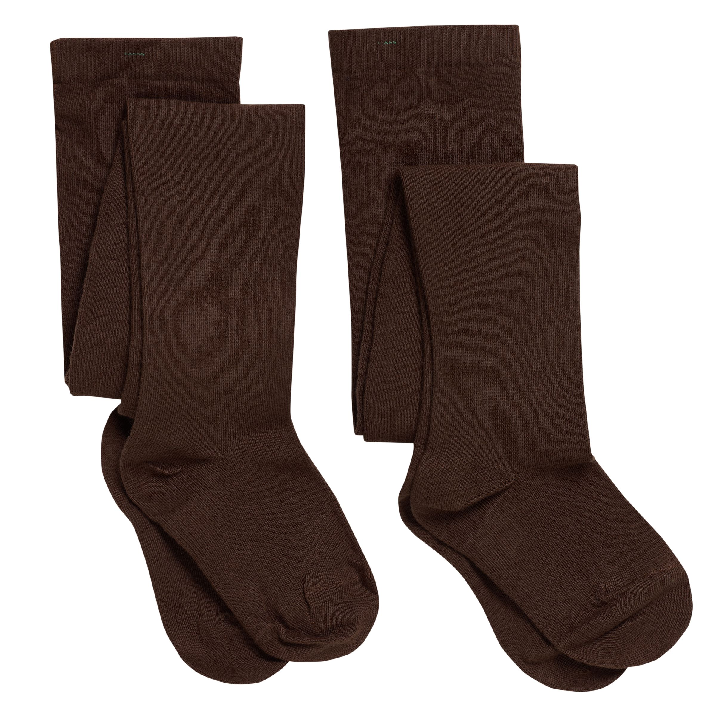 John Lewis Girl Cotton Tights, Pack of 2, Brown