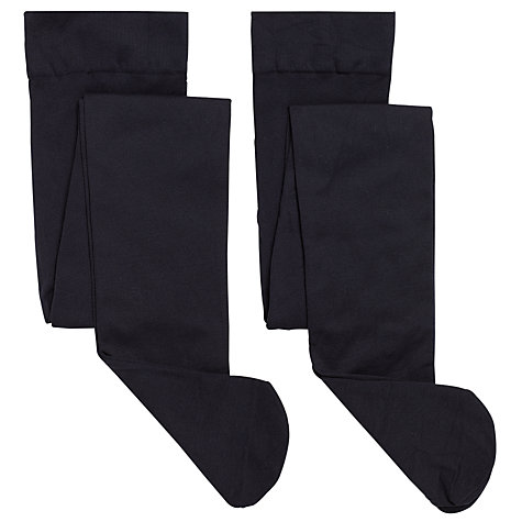 Buy John Lewis Girl Opaque Tights, Pack of 2, Navy Blue Online at johnlewis.com