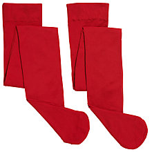 Buy John Lewis Girl Opaque Tights, Pack of 2, Red Online at johnlewis.com