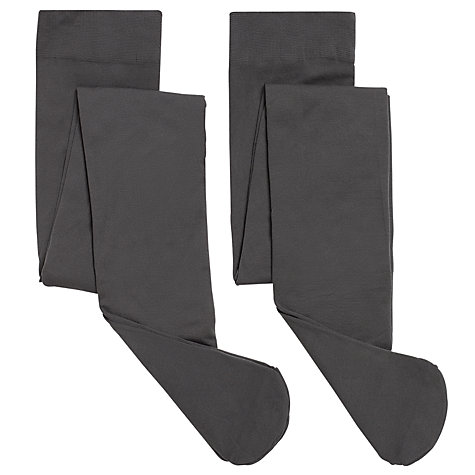Buy John Lewis Girl Opaque Tights, Pack of 2, Charcoal Online at johnlewis.com