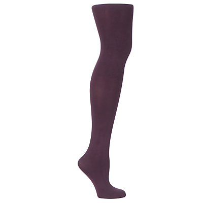 John Lewis 60 Denier Opaque Tights, Grape, size: S