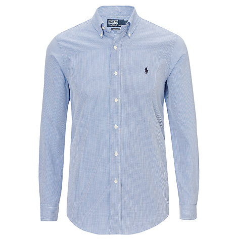 Buy Polo Ralph Lauren Custom Fit Check Shirt, Blue Online at johnlewis.com