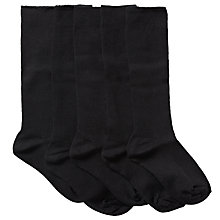 Buy John Lewis Unisex Knee High Socks, Pack of 5, Black Online at johnlewis.com