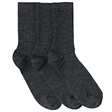Buy John Lewis Unisex Wool Ankle Socks, Pack of 3, Grey Online at johnlewis.com