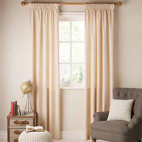 Buy John Lewis The Basics Plain Cotton Unlined Pencil Pleat Curtains Online at johnlewis.com