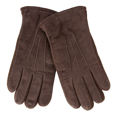Buy John Lewis Suede Top Stitch Gloves, Brown Online at johnlewis.com