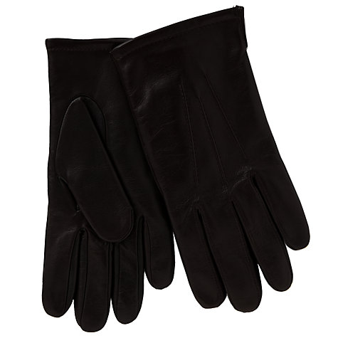 Buy John Lewis Fleece Lined Leather Gloves, Brown Online at johnlewis.com