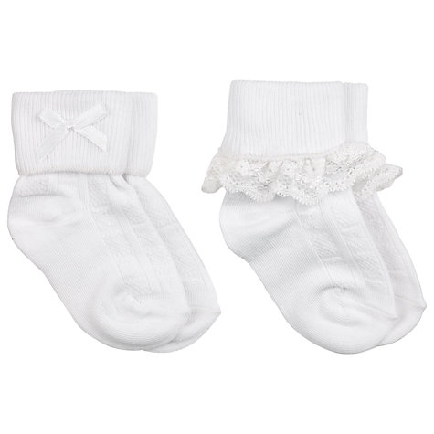 Buy John Lewis Baby Lace Trim Socks, Pack of 2 Online at johnlewis.com