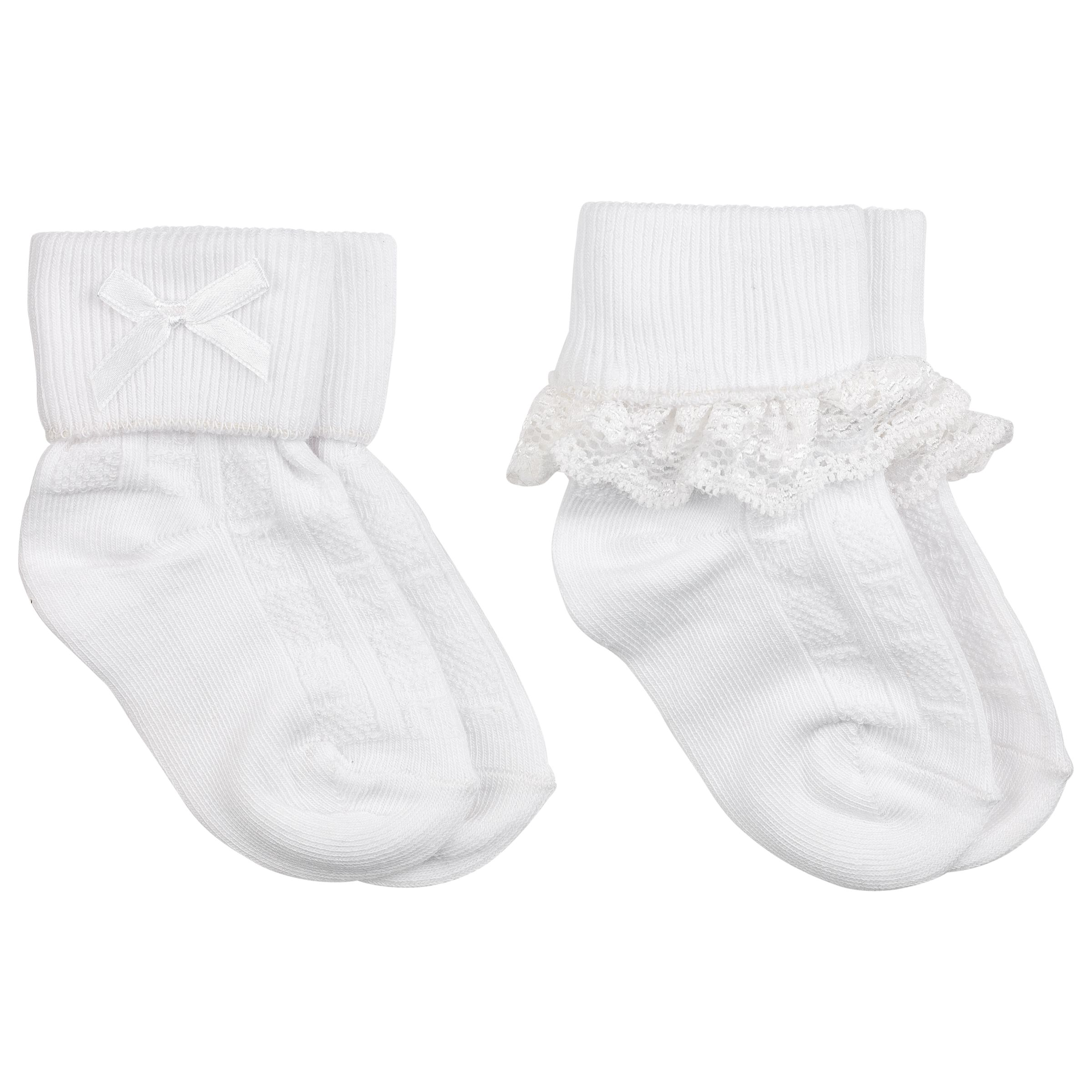 John Lewis Baby Lace Trim Socks, Pack of 2 43139