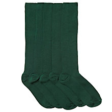 Buy John Lewis Unisex Knee High Socks, Pack of 5, Bottle green Online at johnlewis.com