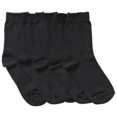 John Lewis Unisex Ankle Socks, Pack of 5, Black
