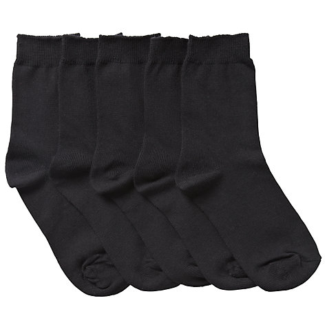 Buy John Lewis Unisex Ankle Socks, Pack of 5, Black Online at johnlewis.com