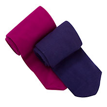 Buy John Lewis Girl Opaque Tights, Pack of 2, Pink/Purple Online at johnlewis.com