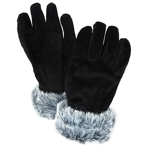 Buy John Lewis Faux Fur Trim Suede Gloves Online at johnlewis.com
