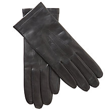 Buy John Lewis Fleece Lined Leather Gloves, Black Online at johnlewis.com