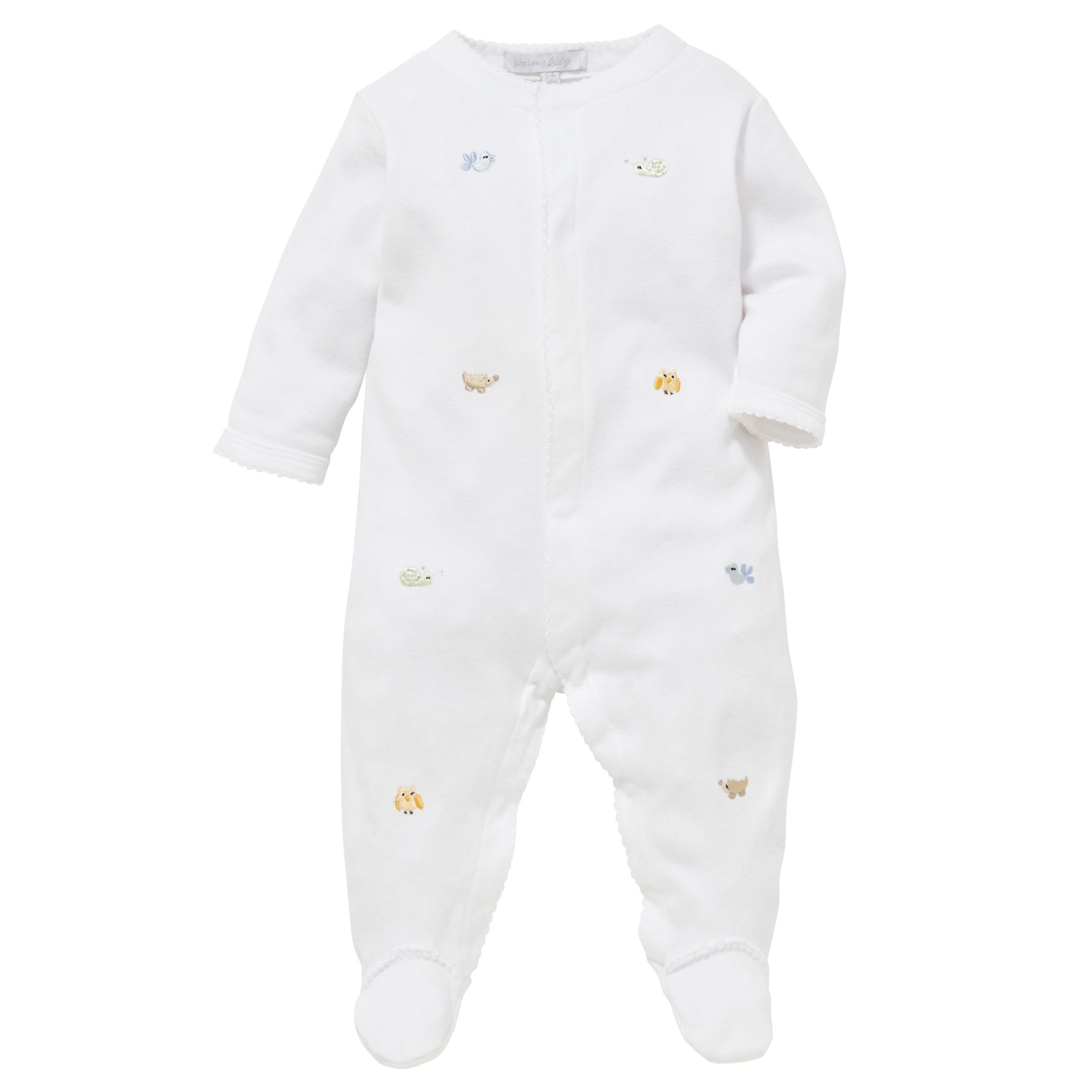 John Lewis Baby Embroidered Animal Sleepsuit 41334