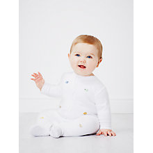 Buy John Lewis Embroidered Animal Sleepsuit, White Online at johnlewis.com