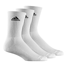 Buy Adidas Crew Socks, Pack of 3, White Online at johnlewis.com