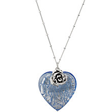 Buy Martick Glass Heart and Rose Pendant Necklace, Blue Online at johnlewis.com