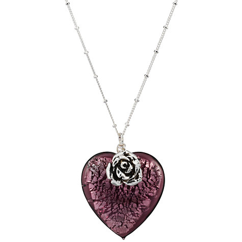 Buy Martick Bohemian Glass Heart Necklace, Blackberry/Rose Online at johnlewis.com