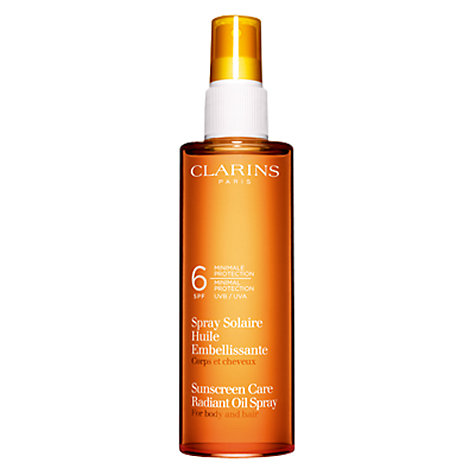 Buy Clarins Sun Care Spray Radiant Oil Low Protection UVB6 Online at johnlewis.com