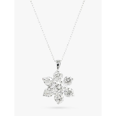 Buy EWA 18ct White Gold Diamond Star Cluster Pendant, White Gold Online at johnlewis.com