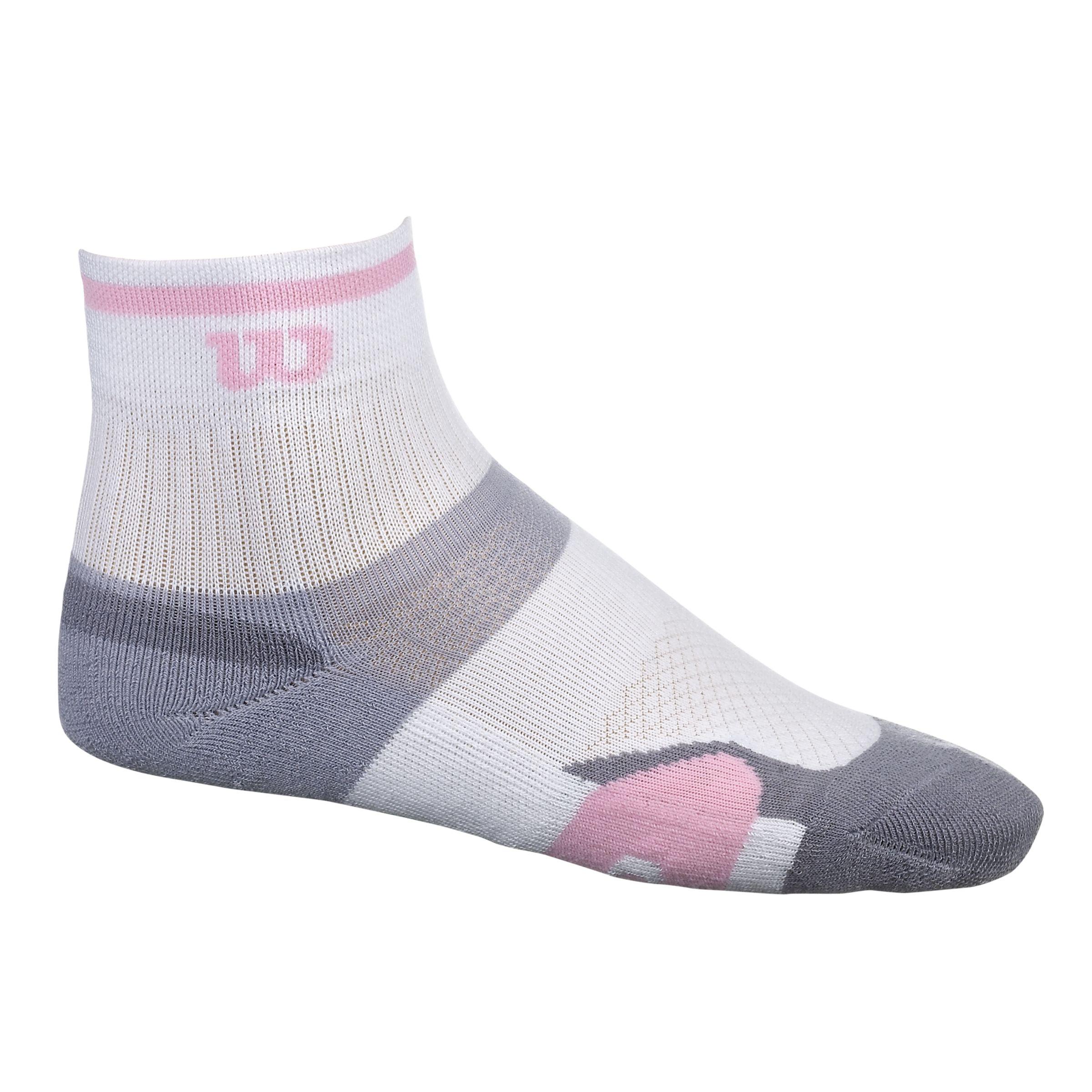 Wilson Wilson ErgoStep Women's Tennis Socks, White/Grey/Pink, 4-8