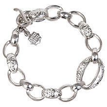 Buy Dower & Hall Silver Forget-Me-Not Oval Link Bracelet Online at johnlewis.com