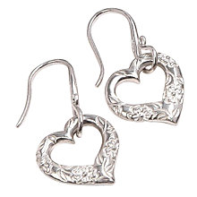 Buy Dower & Hall Silver Forget-Me-Not Open Heart Drop Earrings Online at johnlewis.com