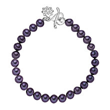 Buy Dower & Hall Single Strand Pearl Bracelet, Purple Online at johnlewis.com