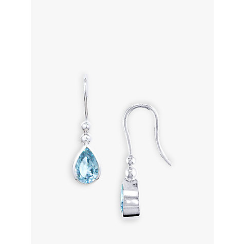 Buy EWA 9ct White Gold Aqua Stone Earrings Online at johnlewis.com