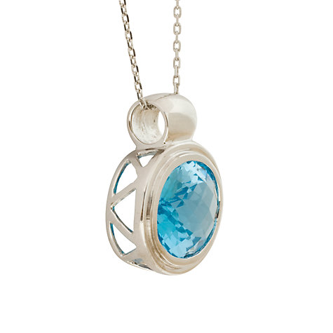 Buy London Road White Gold Oval Topaz Pendant Necklace Online at johnlewis.com