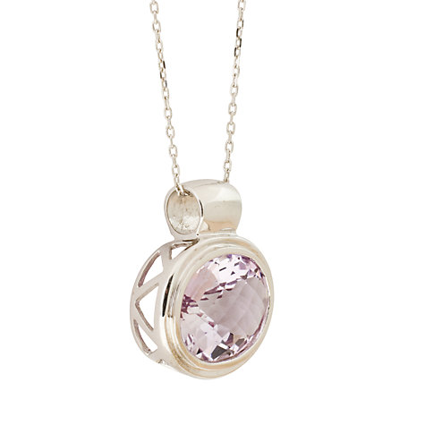 Buy London Road White Gold Oval Amethyst Pendant Necklace Online at johnlewis.com