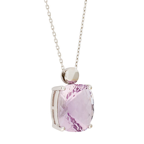 Buy London Road White Gold Rose Amethyst Pendant Necklace Online at johnlewis.com