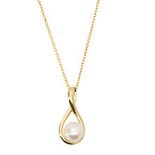 Buy London Road 9ct Yellow Gold Pearl Pendant, White Online at johnlewis.com