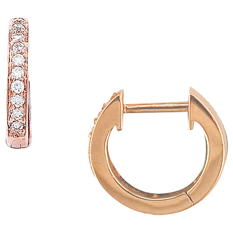 Buy London Road 9ct Rose Gold Diamond Hoop Earrings Online at johnlewis.com