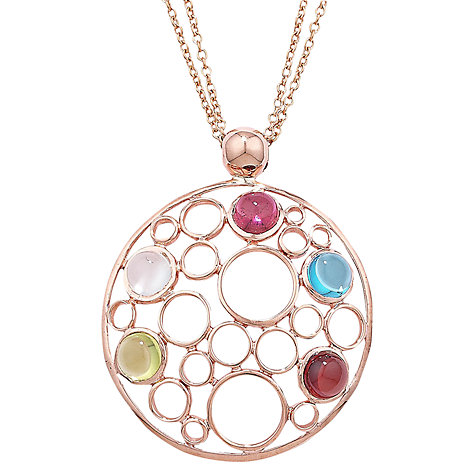 Buy London Road 9ct Rose Gold Circular Pendant Necklace, Rose Gold/Multi Online at johnlewis.com