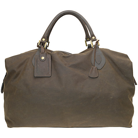 Buy Barbour Wax Cotton Travel Explorer Holdall, Olive Online at johnlewis.com
