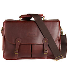 Buy Barbour Leather Satchel, Dark Brown Online at johnlewis.com
