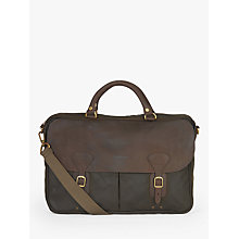 Buy Barbour Wax Cotton and Leather Trim Satchel, Olive Online at johnlewis.com
