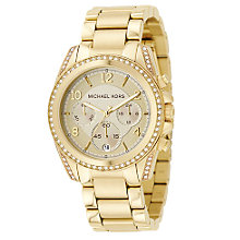Buy Michael Kors MK5166 Women's Crystal Set Stainless Steel Bracelet Strap Watch, Gold Online at johnlewis.com