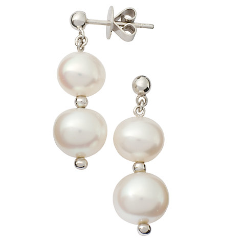 Buy London Road White Gold Double Pearl Drop Earrings Online at johnlewis.com